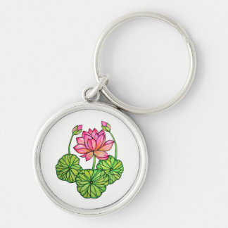 Watercolor Pink Lotus with Buds & Leaves Keychain