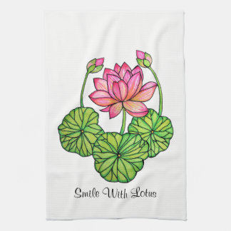 Watercolor Pink Lotus with Buds & Leaves Kitchen Towel