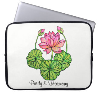 Watercolor Pink Lotus with Buds & Leaves Laptop Sleeve