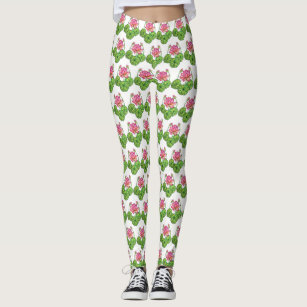 ada31607f5f19 Women's Pink Flower Lotus Leggings & Tights | Zazzle CA