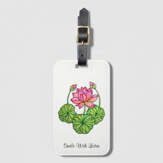 Watercolor Pink Lotus with Buds & Leaves Luggage Tag