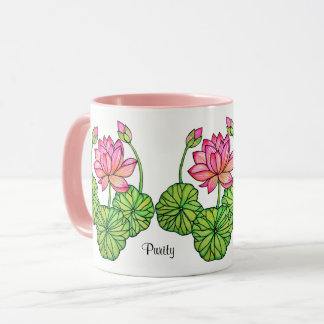 Watercolor Pink Lotus with Buds & Leaves Mug