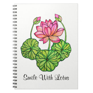 Watercolor Pink Lotus with Buds & Leaves Notebook