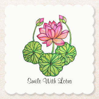 Watercolor Pink Lotus with Buds & Leaves Paper Coaster