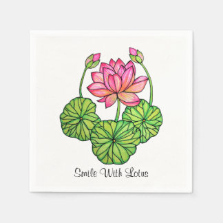 Watercolor Pink Lotus with Buds & Leaves Paper Napkin