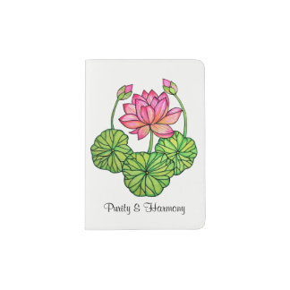 Watercolor Pink Lotus with Buds & Leaves Passport Holder