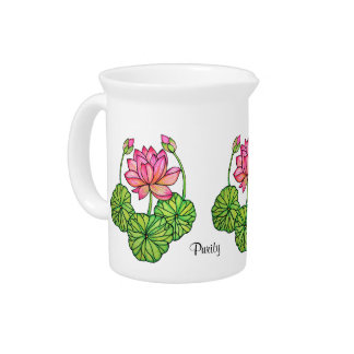 Watercolor Pink Lotus with Buds & Leaves Pitcher