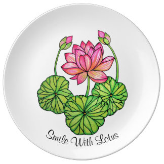 Watercolor Pink Lotus with Buds & Leaves Plate
