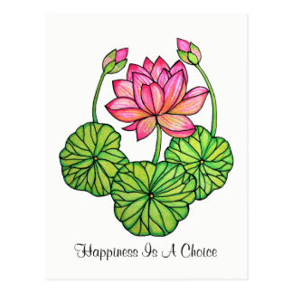 Watercolor Pink Lotus with Buds & Leaves Postcard