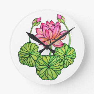 Watercolor Pink Lotus with Buds & Leaves Round Clock