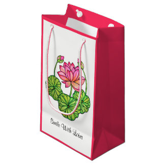 Watercolor Pink Lotus with Buds & Leaves Small Gift Bag