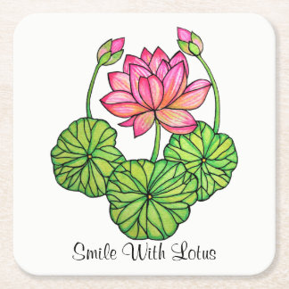 Watercolor Pink Lotus with Buds & Leaves Square Paper Coaster