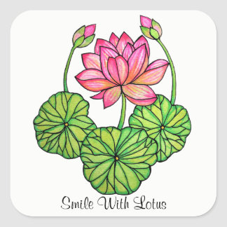 Watercolor Pink Lotus with Buds & Leaves Square Sticker