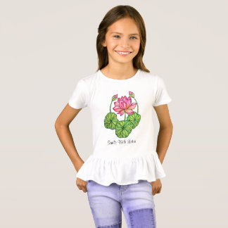 Watercolor Pink Lotus with Buds & Leaves T-Shirt
