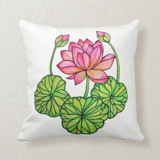 Watercolor Pink Lotus with Buds & Leaves Throw Pillow