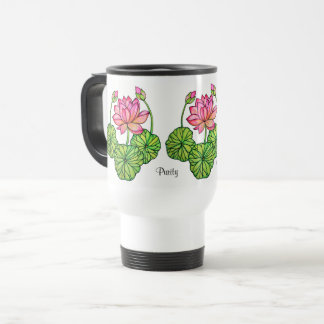 Watercolor Pink Lotus with Buds & Leaves Travel Mug