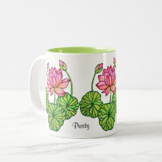 Watercolor Pink Lotus with Buds & Leaves Two-Tone Coffee Mug