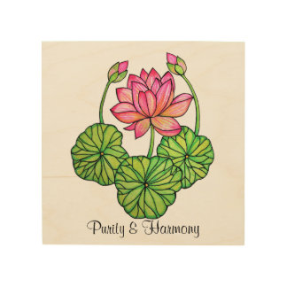 Watercolor Pink Lotus with Buds & Leaves Wood Print