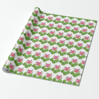 Watercolor Pink Lotus with Buds & Leaves Wrapping Paper