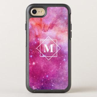Watercolor Pink Nebula Galaxy & Stars   Monogram OtterBox Symmetry iPhone 8/7 Case