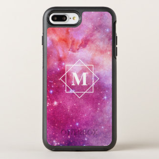Watercolor Pink Nebula Galaxy & Stars | Monogram OtterBox Symmetry iPhone 8 Plus/7 Plus Case
