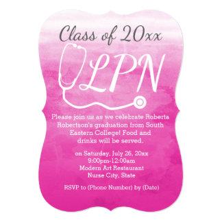 """Watercolor Pink Nursing LPN Nurse Graduation Party 5"""" X 7"""" Invitation Card"""