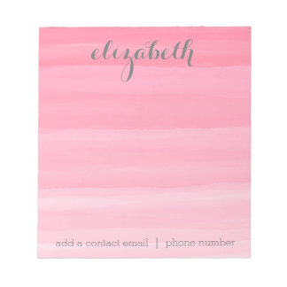 Watercolor Pink Ombre Feminine Office Suite Notepad