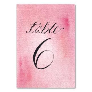 Watercolor Pink & Orange Table Number 6