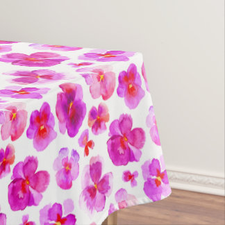 Watercolor pink pansy floral flower tablecloth