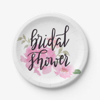 Watercolor Pink Peonies Bridal Shower Script Paper Plate