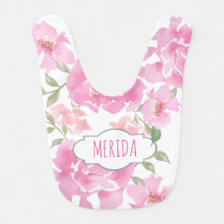 Watercolor Pink Peonies Floral Cute Girly Bib