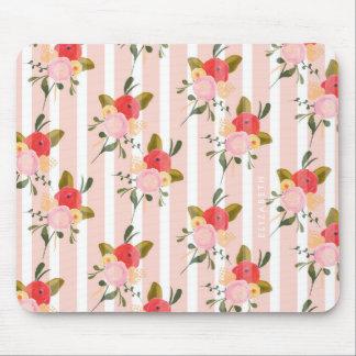 Watercolor Pink Peonies Pinstripes Custom Mousepad