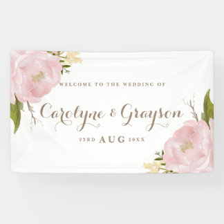 Watercolor Pink Peonies Wedding Banner