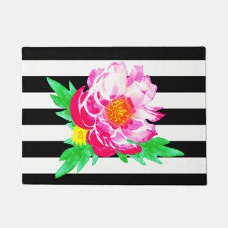 Watercolor Pink Peony Black & White Door Mat