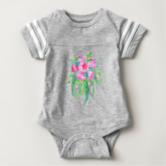 Watercolor Pink Peony bouquet Baby Bodysuit