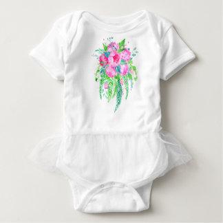 Watercolor Pink Peony bouquet Baby Bodysuit