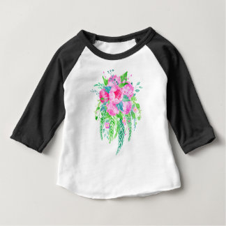 Watercolor Pink Peony bouquet Baby T-Shirt