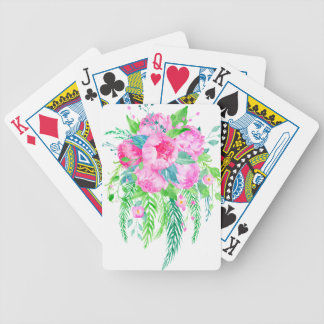 Watercolor Pink Peony bouquet Bicycle Playing Cards