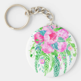 Watercolor Pink Peony bouquet Keychain