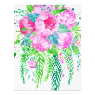 Watercolor Pink Peony bouquet Letterhead