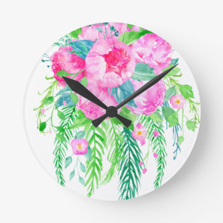 Watercolor Pink Peony bouquet Round Clock
