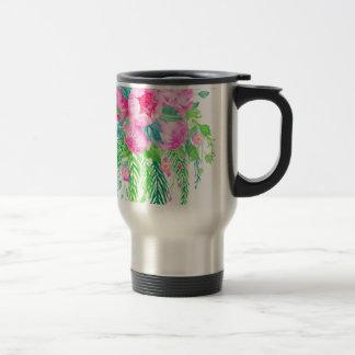 Watercolor Pink Peony bouquet Travel Mug