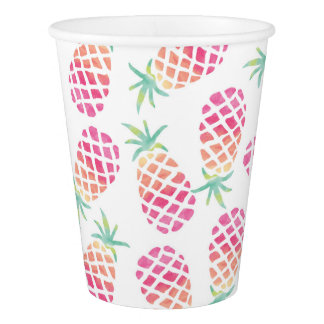 Watercolor Pink pineapple party paper cups