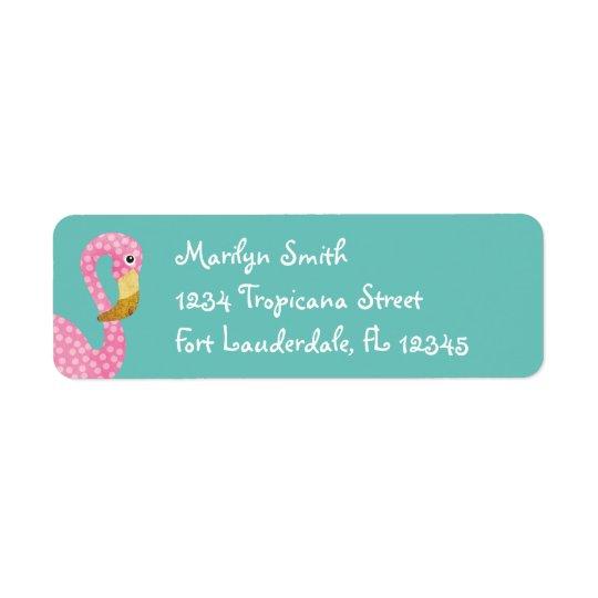 Watercolor Pink Polka Dot Flamingo Return Address Label