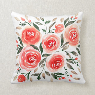 Watercolor Pink Red Floral Roses Pattern Throw Pillow
