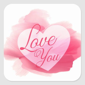 Watercolor Pink & Red Heart Love You Square Sticker