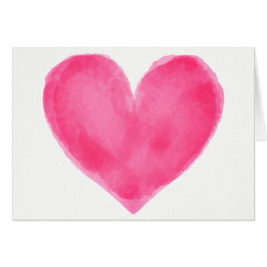 Watercolor Pink Red Heart - Wedding Love Card