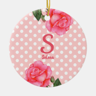 Watercolor Pink Rose Botanical Floral Art Monogram Ceramic Ornament