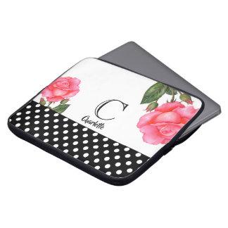 Watercolor Pink Rose Botanical Floral Art Monogram Laptop Sleeve