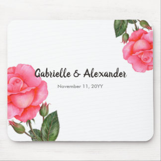 Watercolor Pink Rose Botanical Floral Art Wedding Mouse Pad
